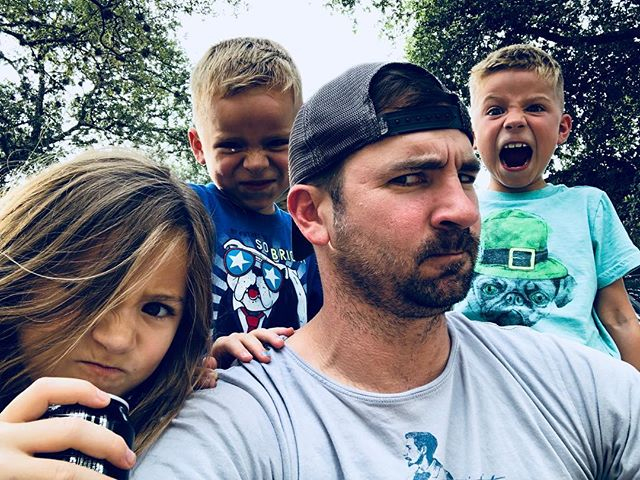 Back with the tribe!  Chase said on the court by of 3 we do a mean face!  #family #homesweethome #meanface #cocacola #cokezero #texas #meanmuggin #love