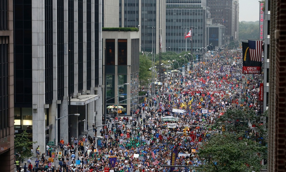Over 400, 000 at The People's Climate March, NYC, Sept. '14  Photograph: Jason DeCrow/AP