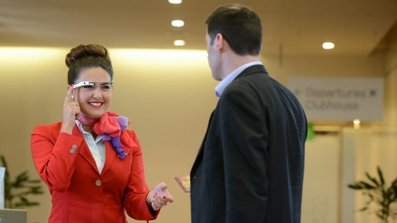 Virgin Atlantic hostess using Google Glass