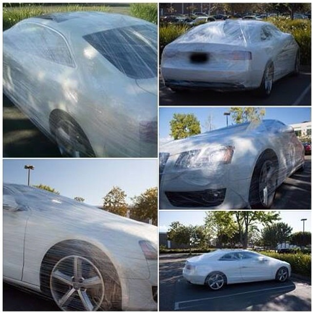 I love April 1. Plastic wrapped our co-workers car today :)