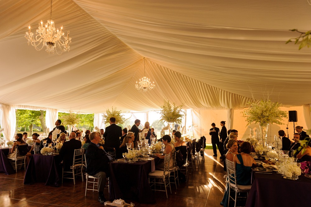 The dinner tent was lovely with the satin lining, chandeliers, and billowing curtains.... such a site on the lawn!  What a beautiful place to eat.