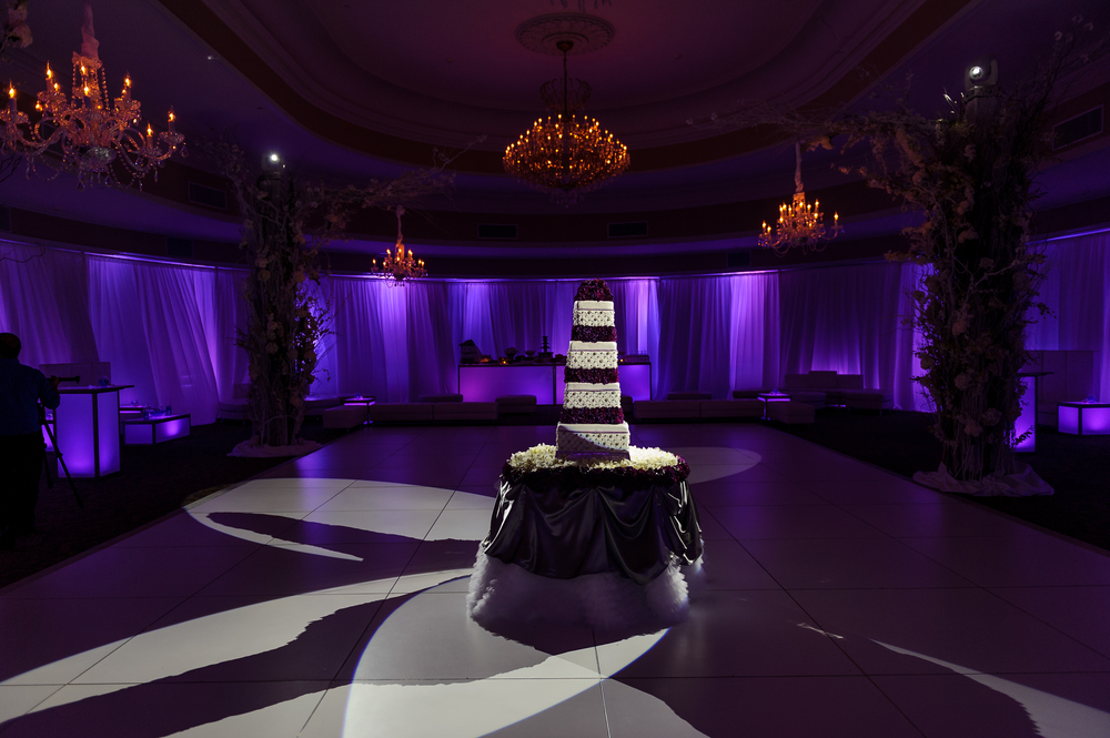AS the guests entered into the ballroom, the dance floor was awaiting them, but first, we must cut the cake!  This amazing cake took 30 hours to do the detailed edible crystal work, each layer every crystal was placed by hand.... the amazing artistry of Executive Master Pastry Chef Daniel Andreotti  Completely Spectacular!