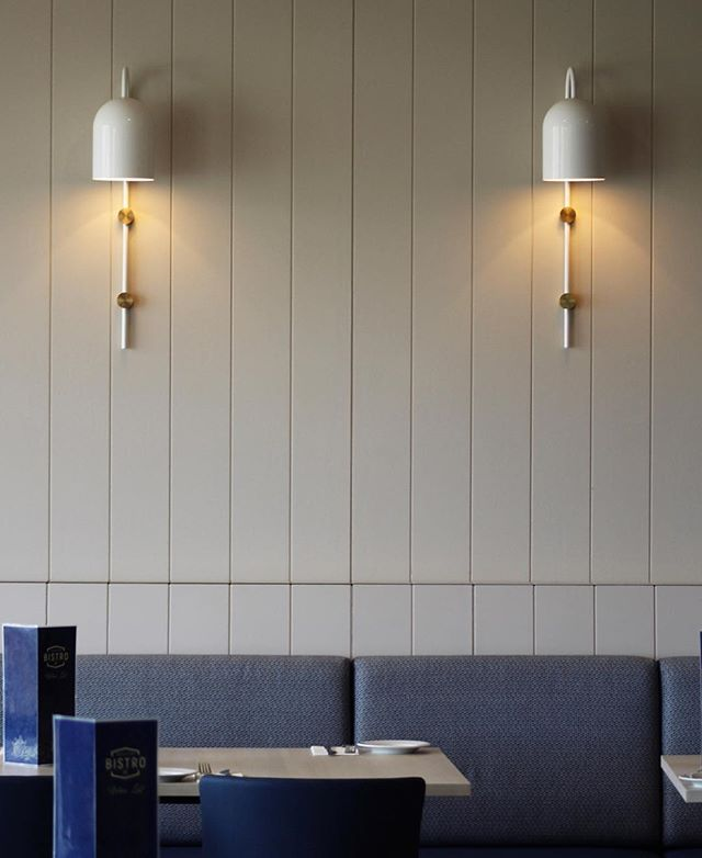 Duomo stem twinning at the Altona Sports Club, Bayview Bistro. By @round6architects #light #lighting #lightingdesign #Interior #interiordesign #contemporary #geometric #minimal #white #brass #⚡️ #💥