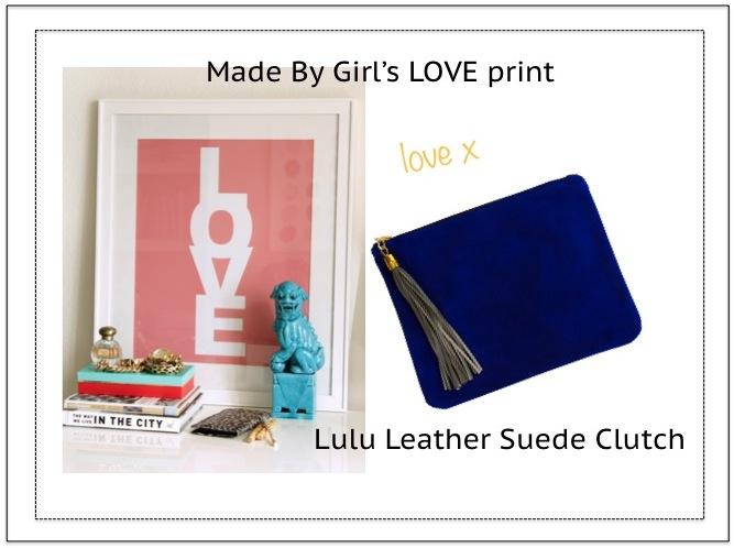 Love print, Lulu leather clutch