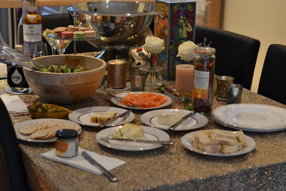 Christmas lunch: Salad, smoked salmon, mini chorizo, pate, cheese platter - brie, stilton & truffle