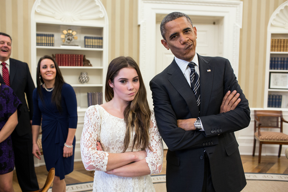 """Nov. 15, 2012 """"The President had just met with the U.S. Olympics gymnastics team, who because of a previous commitment had missed the ceremony earlier in the year with the entire U.S. Olympic team. The President suggested to McKayla Maroney that they recreate her 'not impressed' photograph before they departed."""" (Official White House Photo by Pete Souza)"""