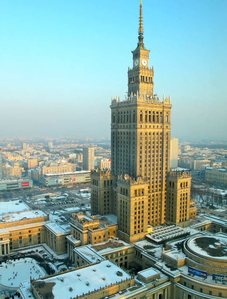Taken from our hotel -  The Palace of Culture and Science : a gift from the Soviet Union in the 1950s