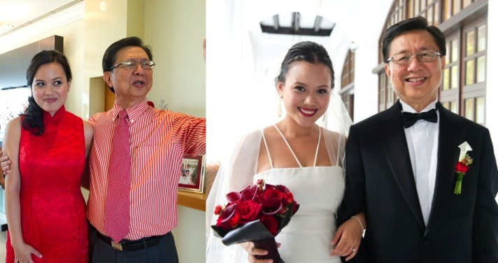Both photos are from my wedding (my dad mid-speech & I, slightly embarrassed; waiting to walk down the aisle).
