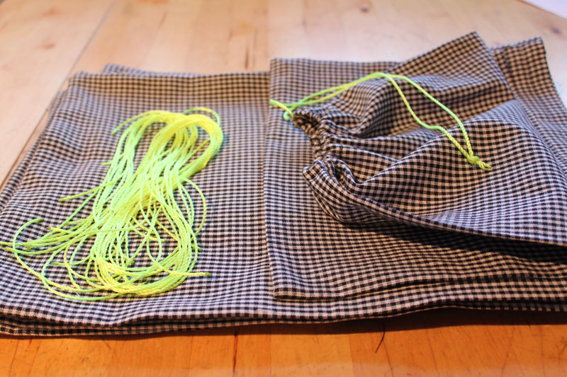 Gingham and neon project bags in progress