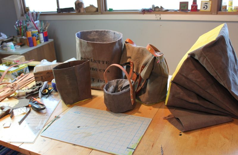 My worktable today- making waxed canvas bags