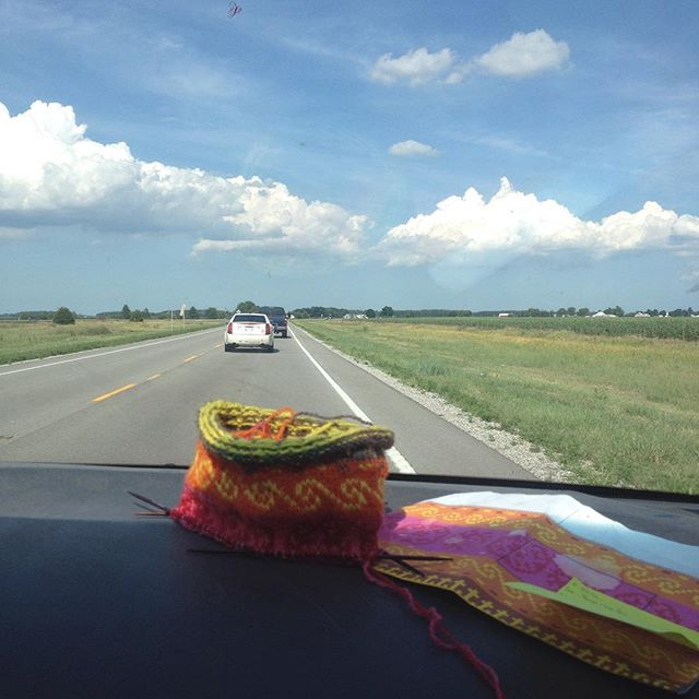 Knee-high knitting through Ohio. Lake Erie bound.