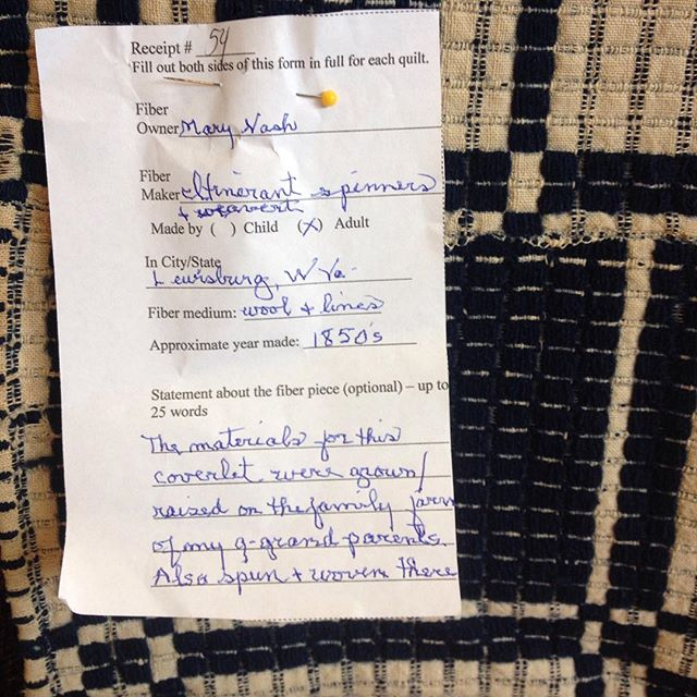 Favorite part of the Berea Arts Council's quilt and fiber event happening today and tomorrow at Berea Community School: the stories on these little slips! #coverlet #weaving #bereaky #bereaartscouncil