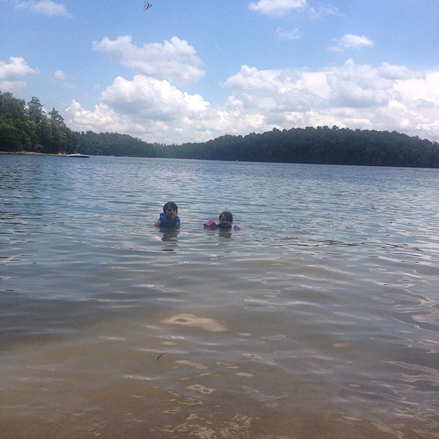 Cousins at the lake! 🐟❤️🚣🎣 #laurellake #weloveithere #explorekentucky #lakedays #swimming
