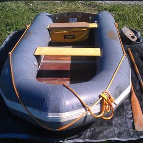 If all goes well I will own this boat in just a few hours. It's an Avon Rover R3-40. Can handle 1000 lbs or 6 people and a little motor. It can fold down to fit in the back of my van but it also has a wooden floor. I'm beyond excited. #hopeitworksout #tinyboats #inflatableboat