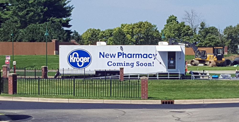 Kroger knew what they were doing when they selected this location for their construction trailer - right where everyone exiting the nearby bank's drive-up tellers would see it.
