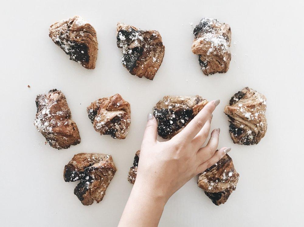 Chocolate dough croissants