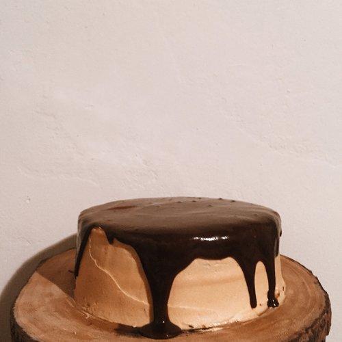 Chocolate cake with salted caramel buttercream and dark chocolate ganache.