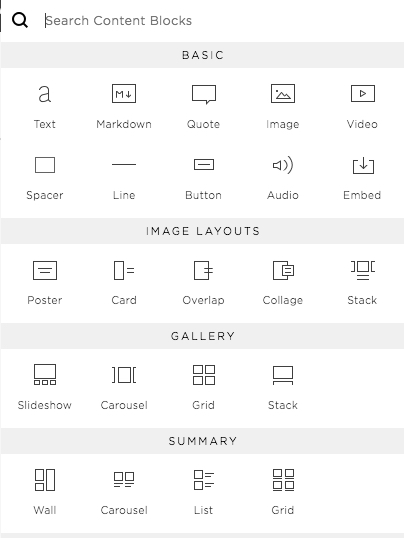Drag a block into the page and create instant galleries, blogs, images, video, etc.