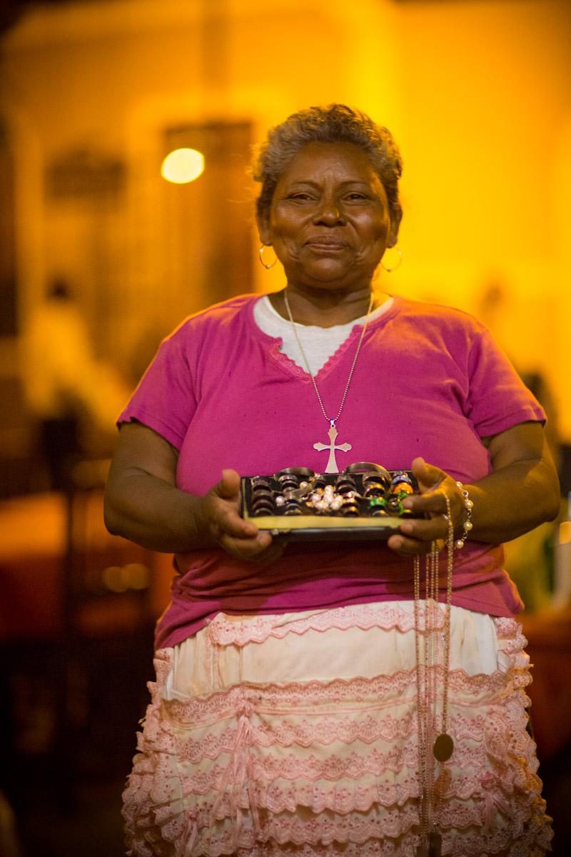 Granada Nicaragua. Happy Nica vending her handmade jewelry.