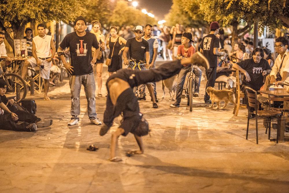 Night life in Granada, Nicaragua. Dancers in action.