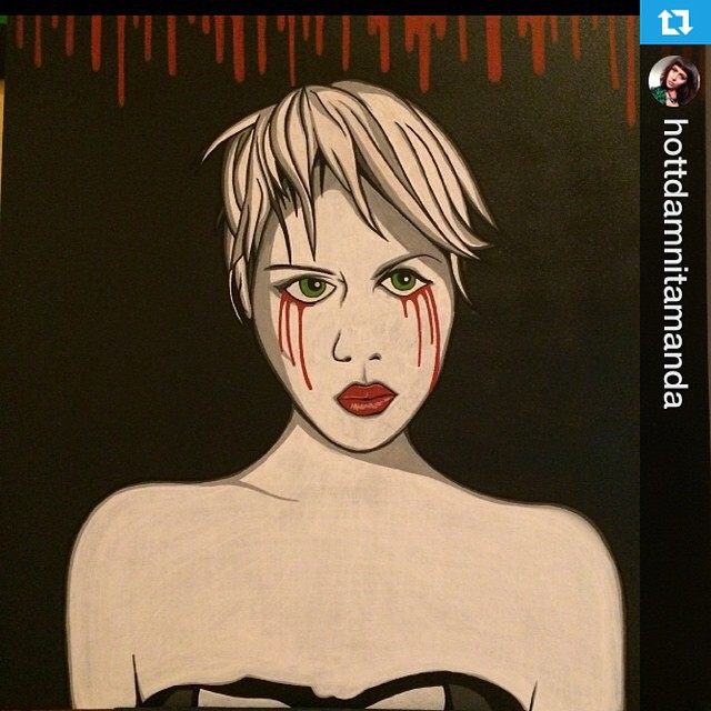 #Repost from @hottdamnitamanda with @repostapp --- Beautiful #painting of me done by onea my favorite people ever @editsolo original image shot by @telex #art #spooky #artwork #love