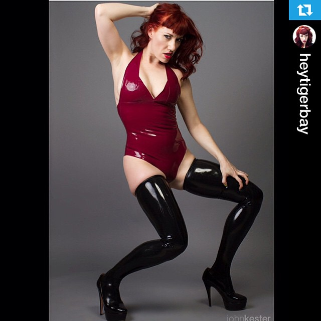 #Repost from @heytigerbay with @repostapp --- Latex leotard and thigh highs by @klawtex photo by John Kester @telex #latex #rubber #latexfetish #latexmodel #klawtex #redhead #fashion #leotard #thighhighs #heels #altmodel #shine #thighhigh