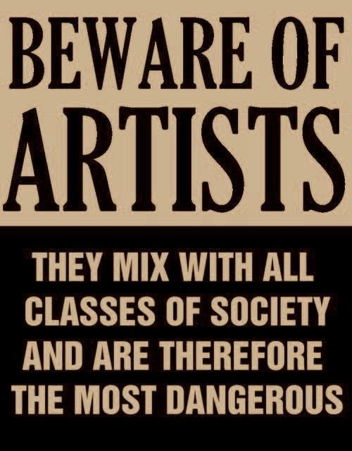 Actual poster from the mid-50s issued by Senator Joseph McCarthy at the height of the Red Scare and anti communist witch hunt in Washington. All artists were suspect.