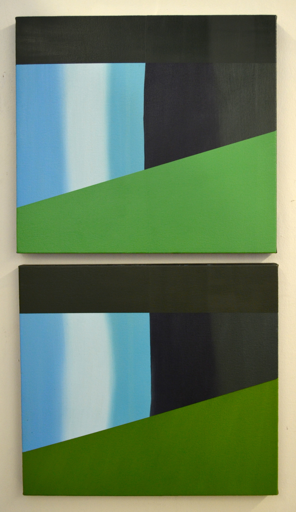 """Night Fall"", oil on canvas over panel, each panel 12"" X 16"", 2013"