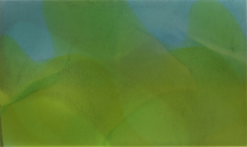 """Rainy Hills"", 2010, 24"" X 40"", poured acrylic on canvas over panel. (unavailable)"