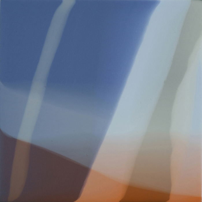 """Tangerine Blur"", 2012, 11"" X 11"", poured acrylic on canvas over panel. (unavailable)"