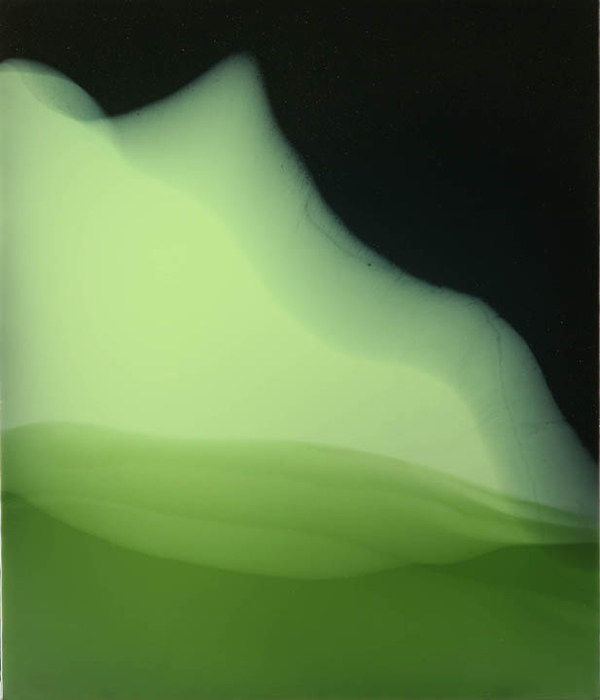 """Another Green World"", 2010, 28"" X 24"", poured acrylic on canvas over panel."