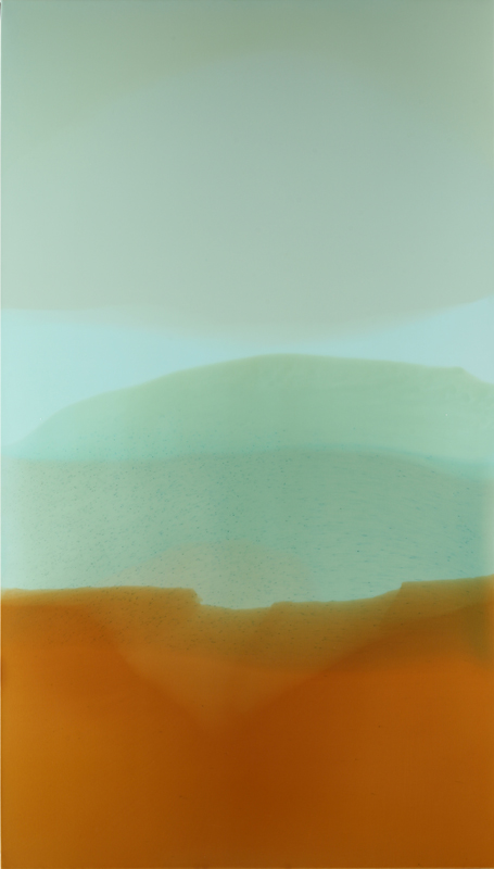 """Atmosphere #1"", 2010, 84"" X 48"", poured acrylic on canvas over panel. (unavailable)"