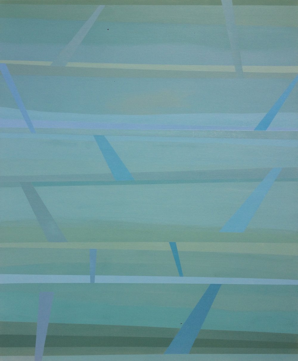 """Vertical Levels"", 2016, 58"" X 48"", Acrylic on canvas."