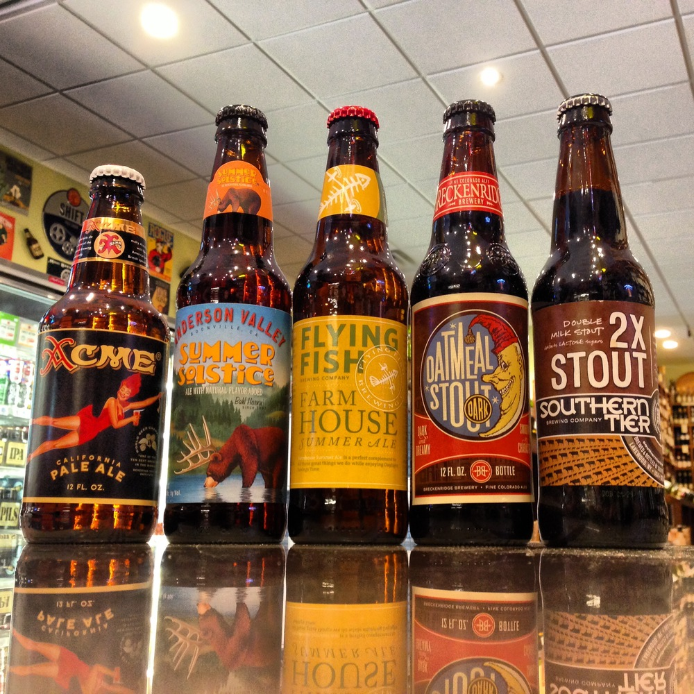 Northcoast Acme Pale Ale, Anderson Valley Summer Solstice, Flying Fish Summer Farmhouse, Breckenridge Oatmeal Stout, Southern Tier 2X Stout