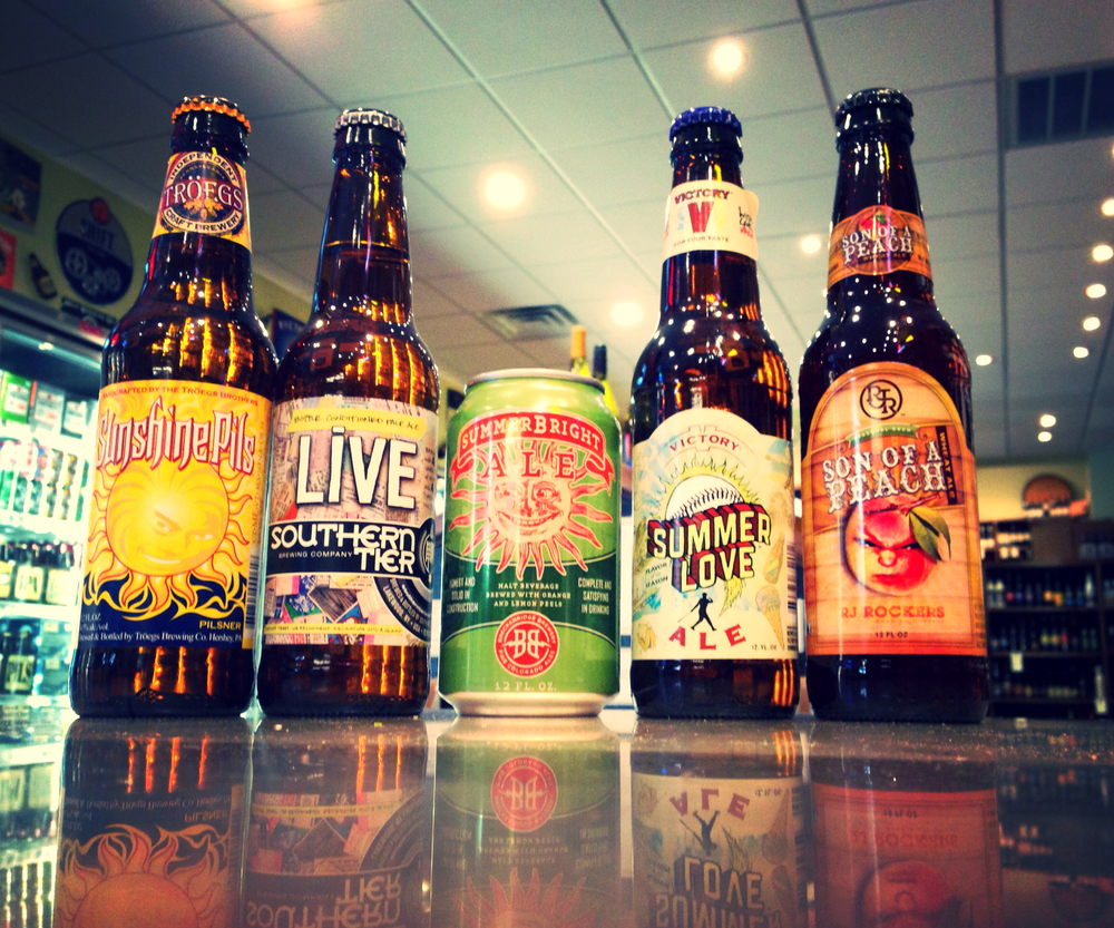Troegs Sunshine Pils, Southern Tier Live, Breckenridge Summerbright, Victory Summer of Love, and RJ Rockers Son of a Peach