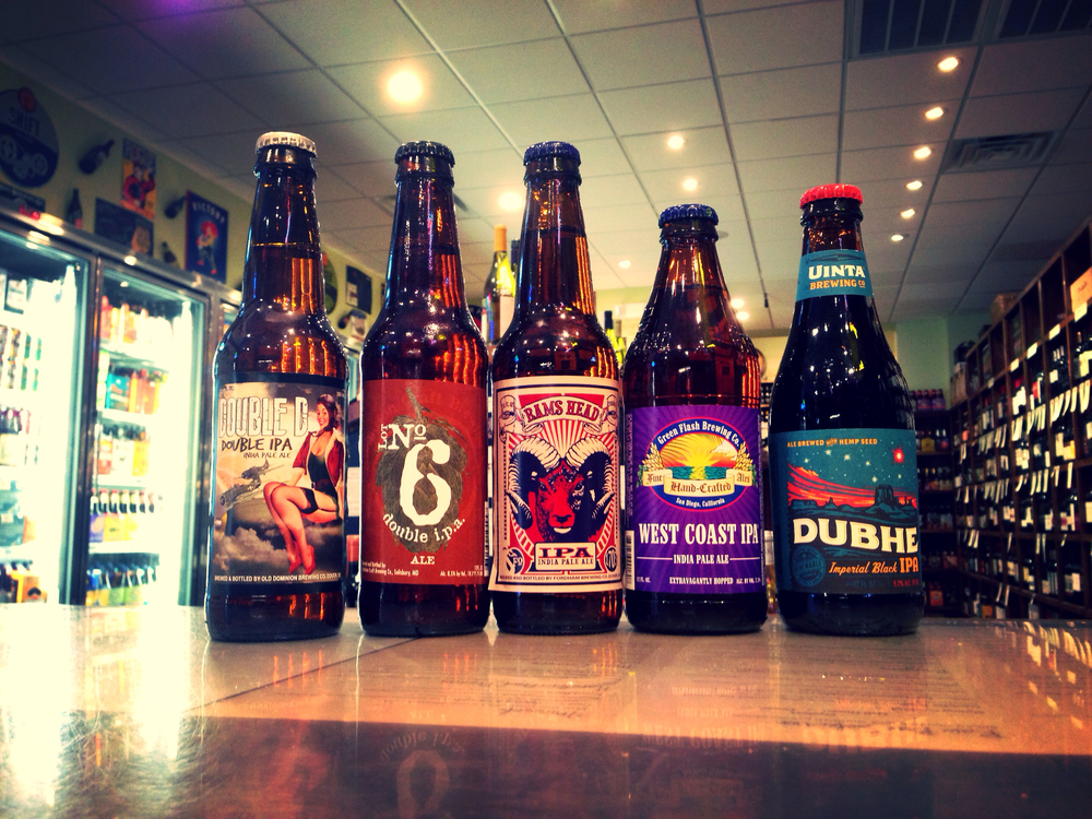 Dominion Double D IPA, Evolution Lot No. 6 DIPA, Fordham Rams Head IPA, Green Flash West Coast IPA, and Uinta Dubhe Imperial Black IPA