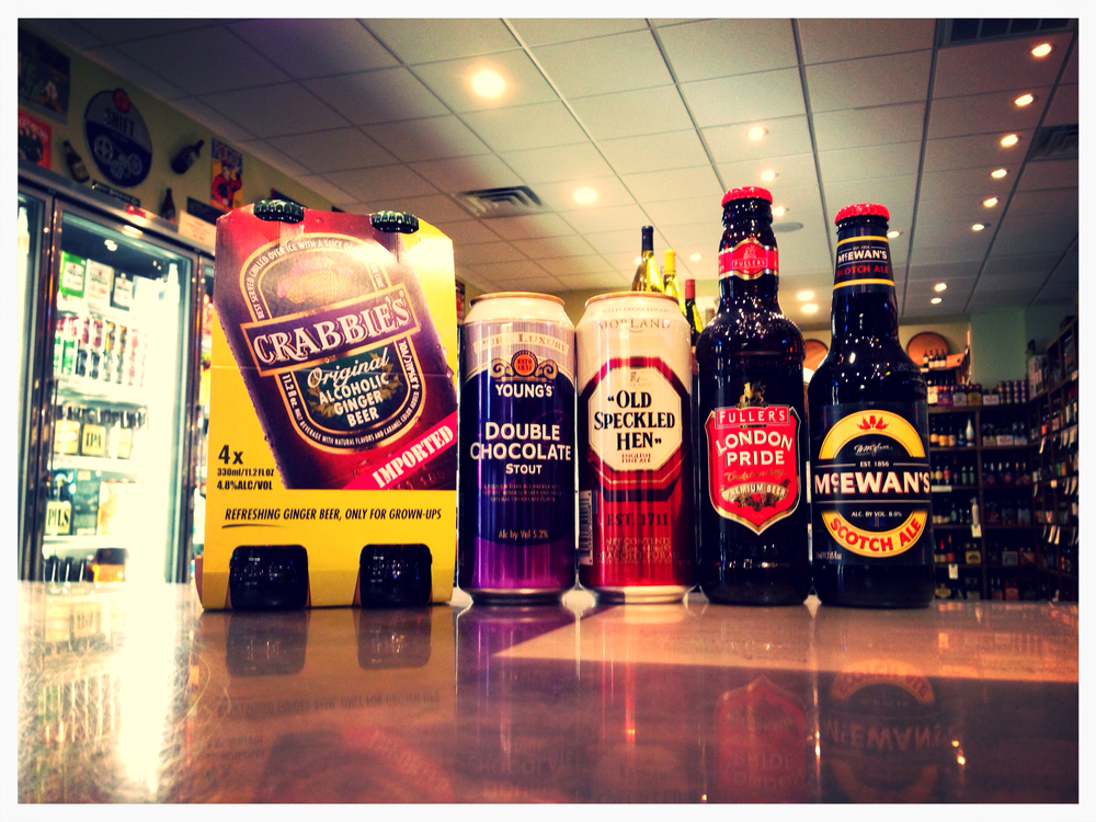 Crabbies Ginger Beer, Young's Double Chocolate Stout, Old Speckled Hen (Nitro), Fuller's London Pride, and McEwan's Scotch Ale