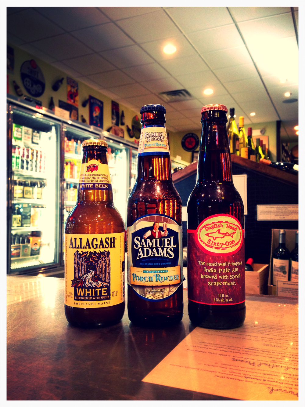 Allagash White, Sam Adams Porch Rocker, and Dogfish Head Sixty-One (restock)