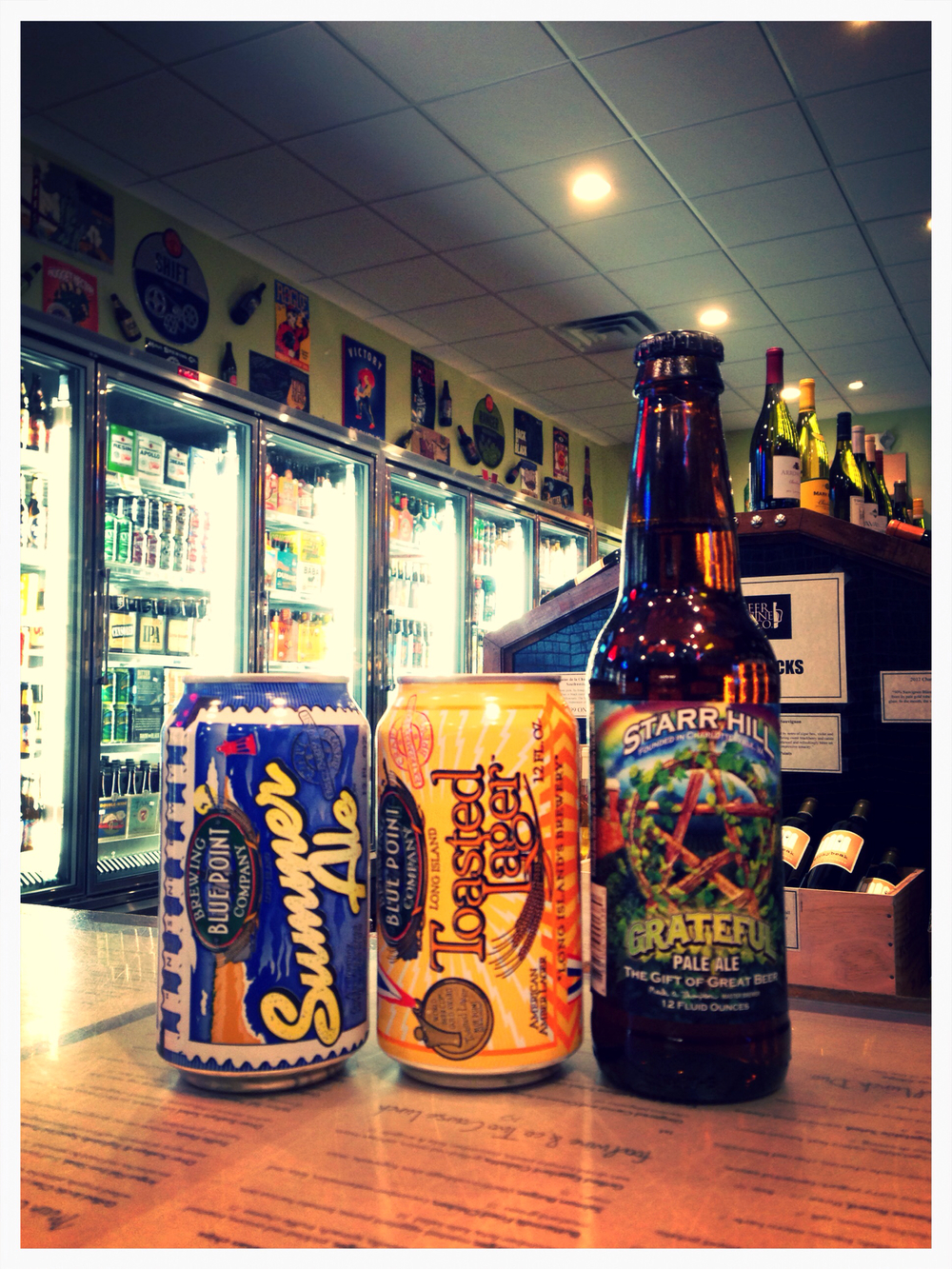 Bluepoint Summer Ale & Toasted Lager cans, Starr Hill Grateful Pale Ale