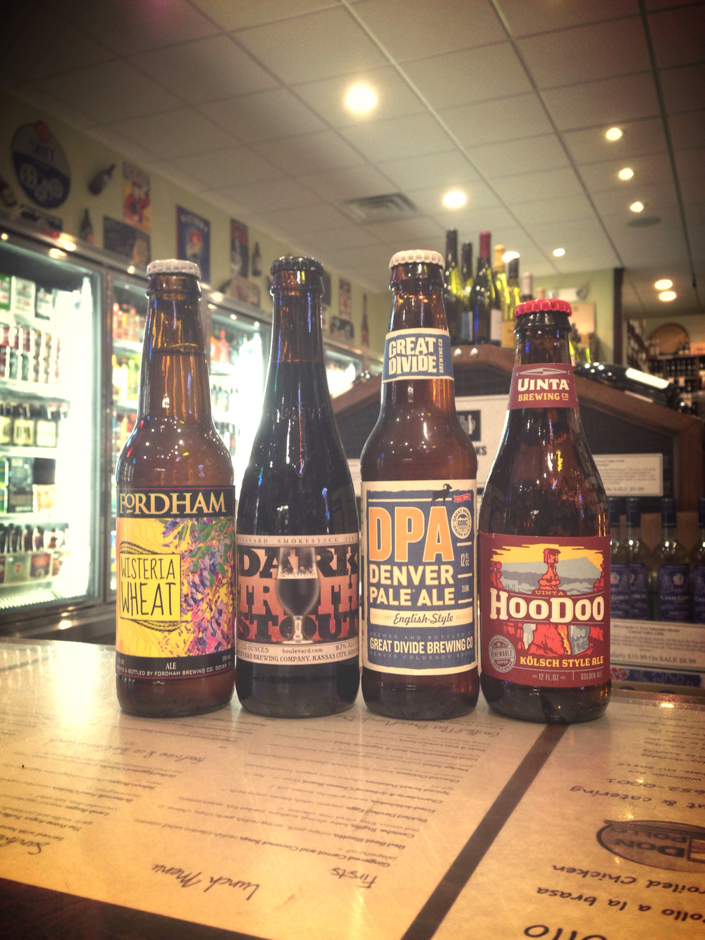 Fordham Wisteria Wheat, Boulevard Dark Truth Stout, Great Divide Denver Pale Ale, Uinta Hoodoo Kolsch