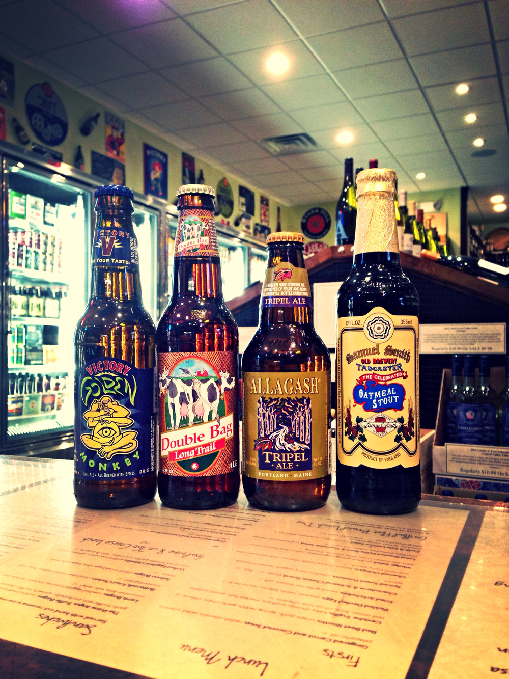 Victory Golden Monkey, Long Trail Double Bag, Allagash Tripel, and Samuel Smith's Oatmeal Stout