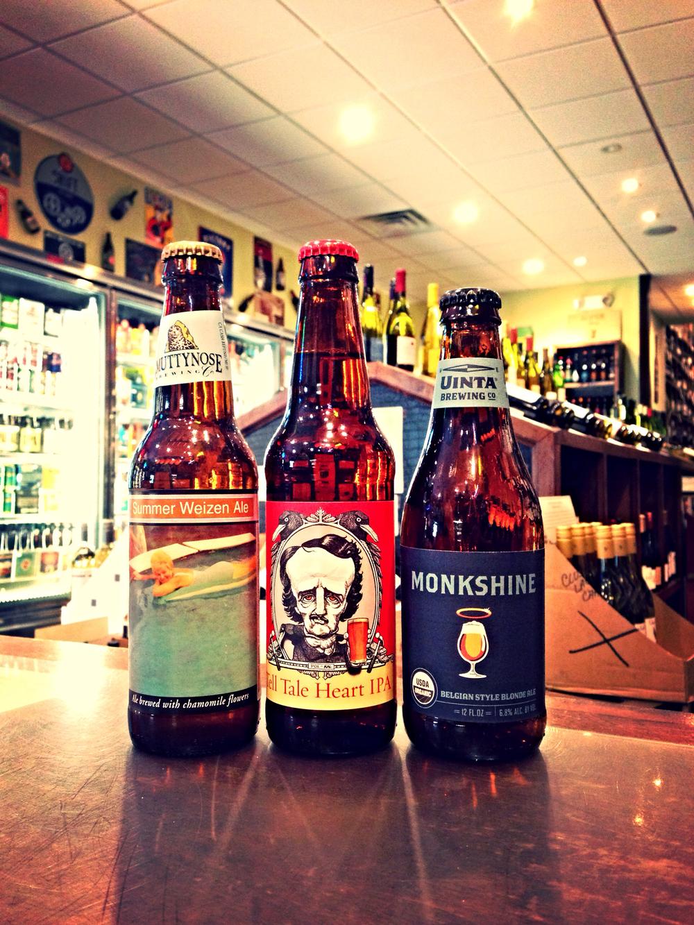 Smuttynose Summer Hefe, Baltimore Beerworks Tell Tale Hearty Ale, Uinta Monkshine Tripel