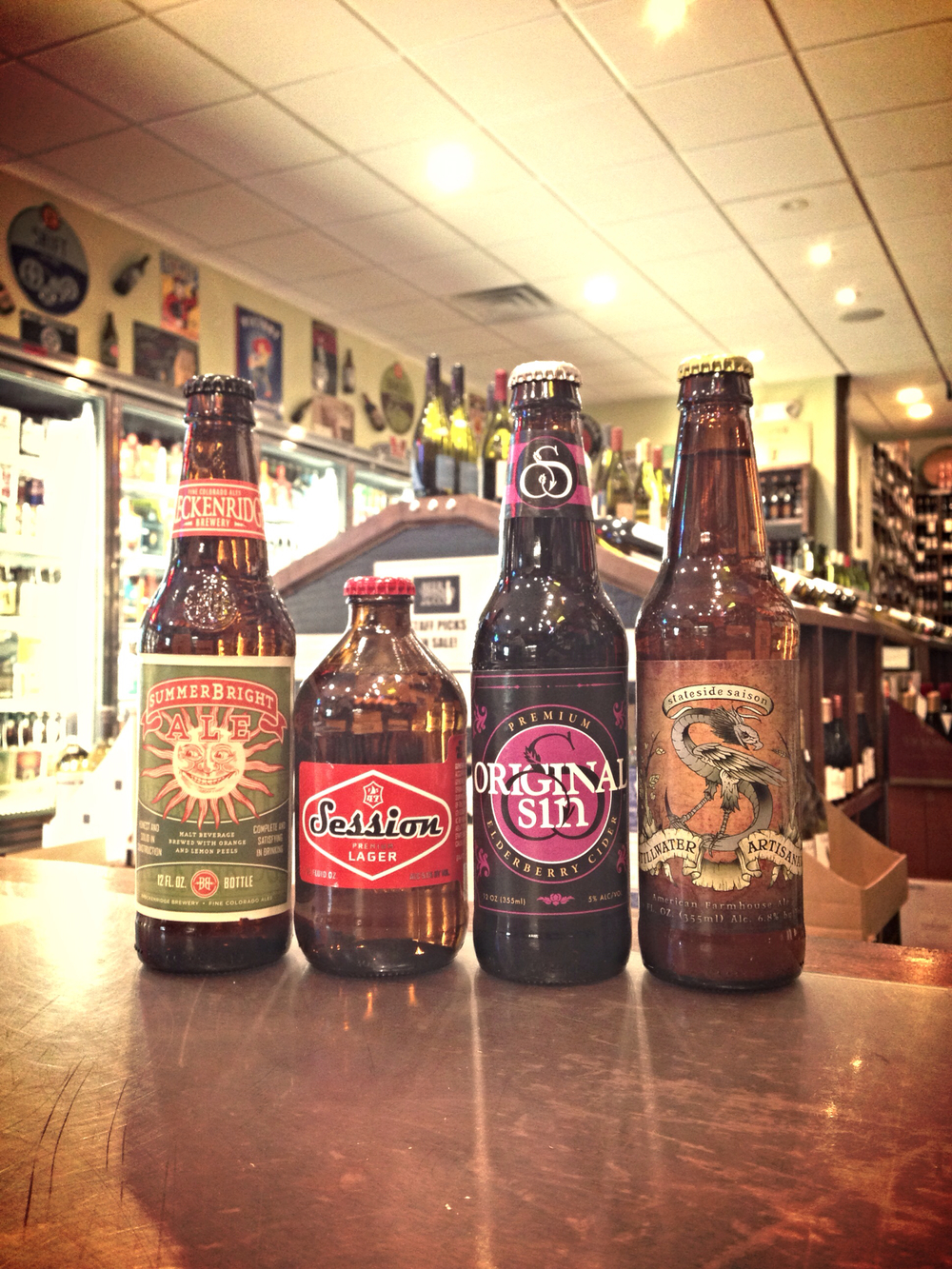 Breckenridge Summerbright, Full Sail Session Lager, Original Sin Elderberry Cider, Stillwater Stateside Saison (4-packs)