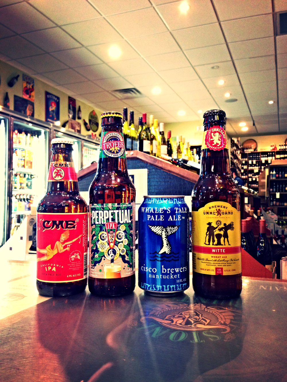 Northcoast Acme IPA, Troegs Perpetual IPA, Cisco Whales Tale Pale Ale, and Ommegang Witte