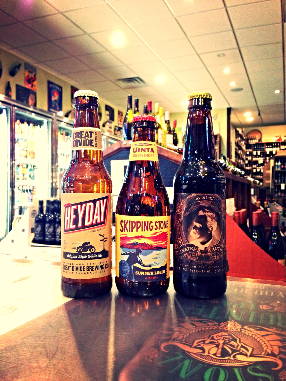 Great Divide Heyday, Uinta Skipping Stone, and Stillwater Existent