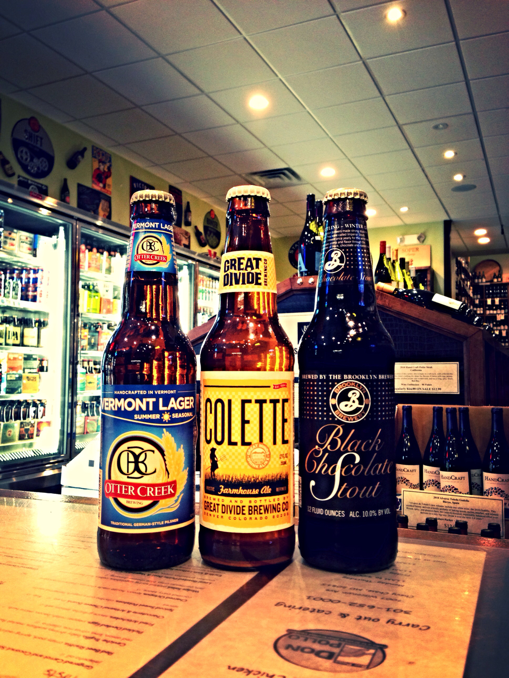 Otter Creek Vermont Lager, Great Divide Colette, and Brooklyn Black Chocolate Stout
