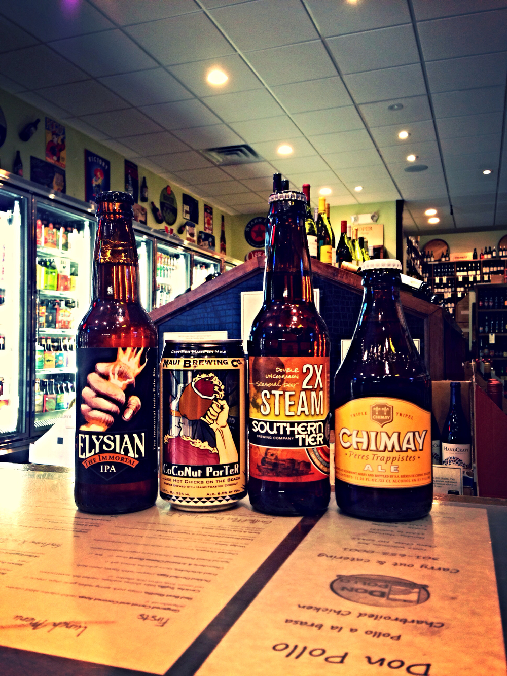 Elysian Immortal IPA, Maui Coconut Porter, Southern Tier 2X Steam, and Chimay Cinq Cent 11.2 oz