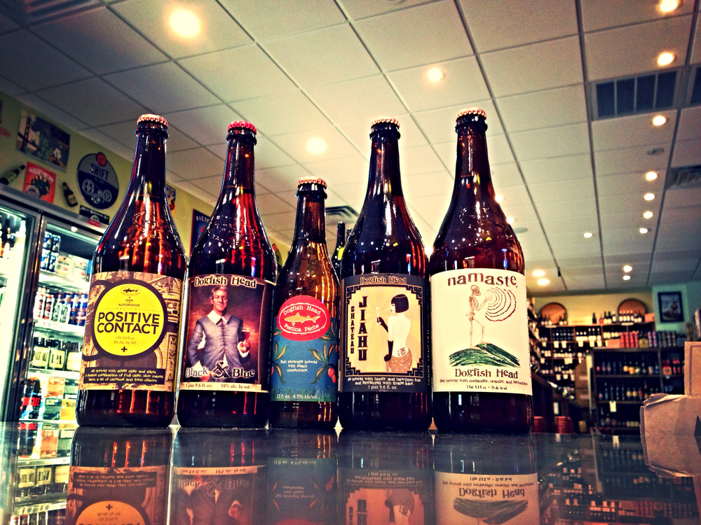 Dogfish Head Positive Contact, Black & Blue, Festina Peche, Chateau Jiahu, and Namaste