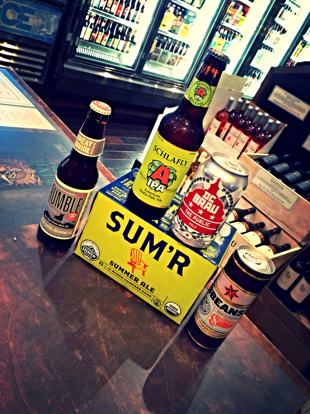 Great Divide Rumble Oak Aged IPA, Uinta Sum'r restock, DC Brau Public Pale, and Sixpoint 3 Beans