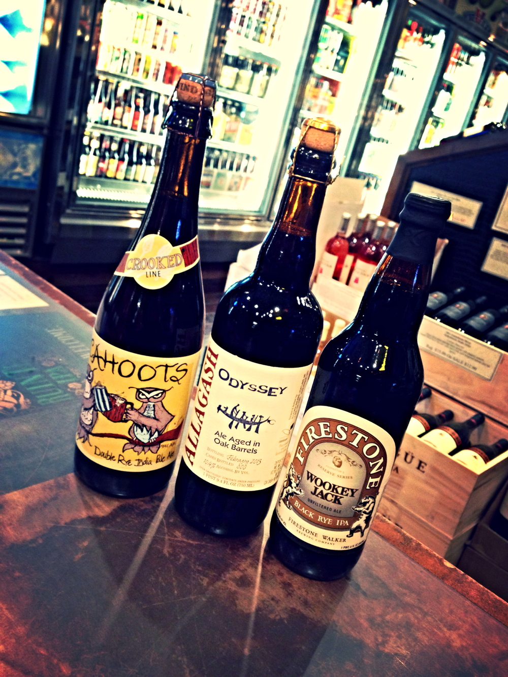 Uinta Cahoots Double Rye IPA, Allagash Oddysey 2013, and Firestone Walker Wookey Jack